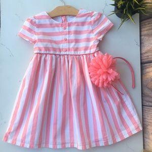 {Gymboree} Striped White & Pink Dress Set